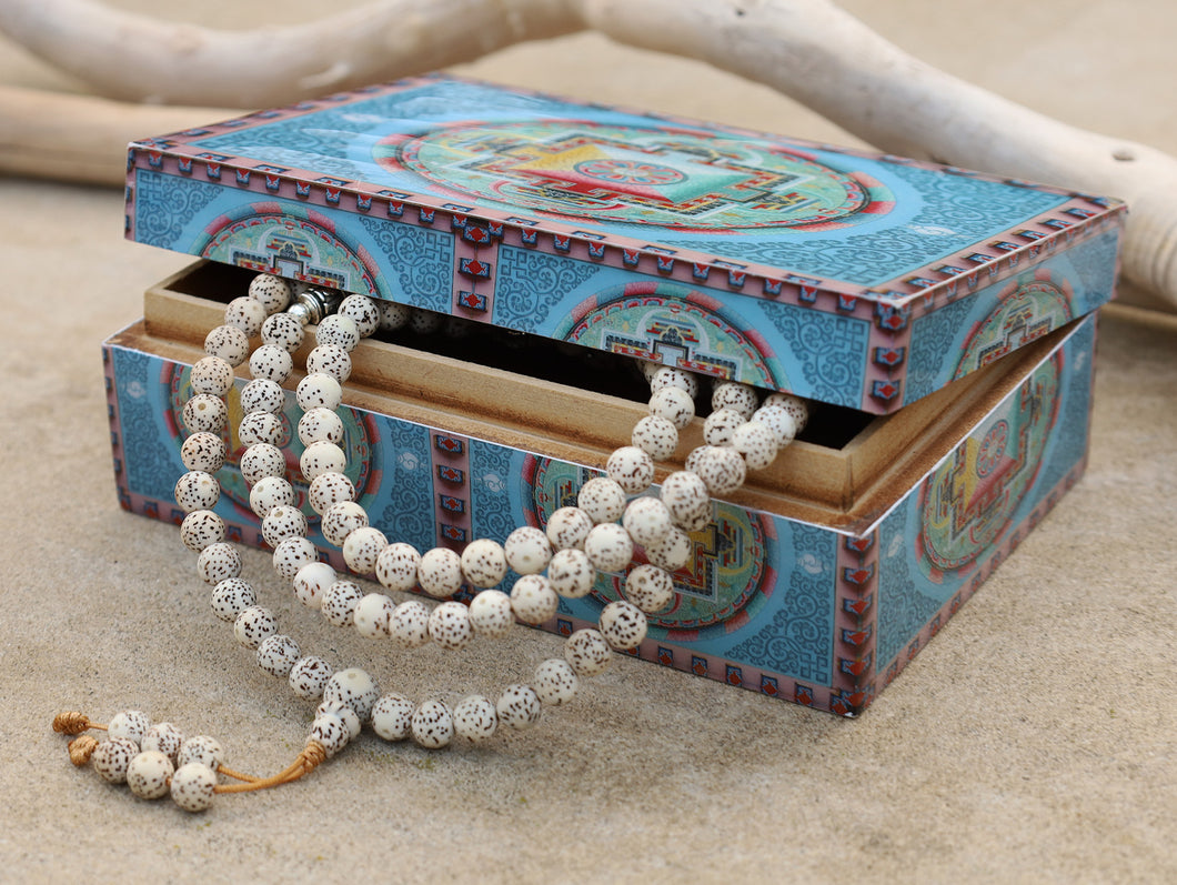 Tibetan Buddhist Lotus Seed Mala Prayer 108 Beads With Free Wooden Mandala Box