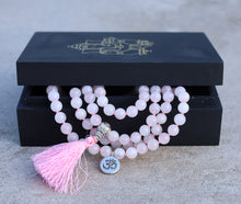 Load image into Gallery viewer, Om Healing Stone 108 Beads Mala Prayer Meditation Yoga Chakra With Silver Guru Bead And Silver Spacers - Free Wooden Gift Box