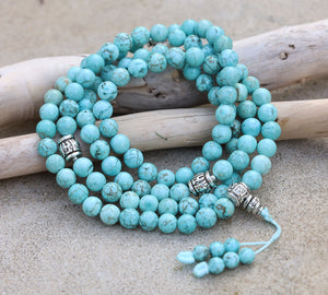 Tibetan Turquoise 108 Beads Mala Meditation Yoga With Silver Guru Bead, Silver Spacers And Mala Wooden Box