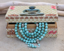 Load image into Gallery viewer, Tibetan Turquoise 108 Beads Mala Meditation Yoga With Silver Guru Bead, Silver Spacers And Mala Wooden Box