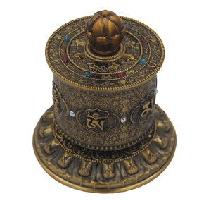 Prayer Wheel Premium Quality Solid Brass Heavy Duty Table Top (Medium) - DharmaObjects