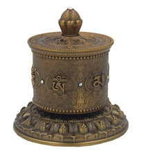 Load image into Gallery viewer, Prayer Wheel Premium Quality Solid Brass Heavy Duty Table Top (Large) - DharmaObjects