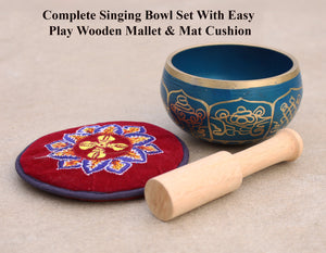 Tibetan 8 Lucky Symbols Singing Bowl Complete Set ~ With Mallet, Mat Cushion ~ For Meditation, Chakra Healing, Prayer, Yoga