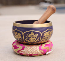 Load image into Gallery viewer, Tibetan 8 Lucky Symbols Singing Bowl Complete Set ~ With Mallet & Cushion ~ For Meditation, Chakra Healing, Prayer, Yoga Purple