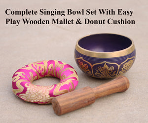 Tibetan 8 Lucky Symbols Singing Bowl Complete Set ~ With Mallet & Cushion ~ For Meditation, Chakra Healing, Prayer, Yoga Purple