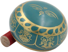 Load image into Gallery viewer, Medium ~ Tibetan 8 Lucky Symols Singing Bowl Set ~ With Mallet, Brocade Cushion & Carry Bag ~ For Meditation, Chakra Healing, Prayer, Yoga (Turquoise) - DharmaObjects