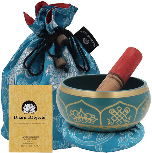 Medium ~ Tibetan 8 Lucky Symols Singing Bowl Set ~ With Mallet, Brocade Cushion & Carry Bag ~ For Meditation, Chakra Healing, Prayer, Yoga (Turquoise) - DharmaObjects