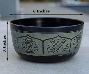 Tibetan Singing Bowl Complete Set Eight Lucky Symbol With Mallet and Cushion ~ For Meditation, Chakra Healing, Prayer, Yoga