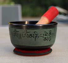 Load image into Gallery viewer, Tibetan Singing Bowl Complete Set Buddhist Om Mani Mantra With Mallet and Cushion ~ For Meditation, Chakra Healing, Prayer, Yoga