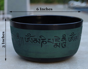 Tibetan Singing Bowl Complete Set Buddhist Om Mani Mantra With Mallet and Cushion ~ For Meditation, Chakra Healing, Prayer, Yoga
