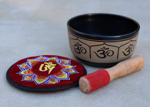 Tibetan Singing Bowl Complete Set Hindu Yoga OM With Mallet and Cushion ~ For Meditation, Chakra Healing, Prayer, Yoga