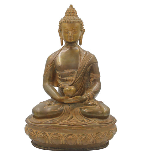 Buddha Meditation Statue on Lotus Copper Finish Brass 17.5 Inches Tall