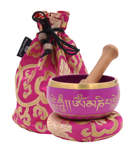 Tibetan OM MANI Singing Bowl Complete Set ~ With Mallet, Brocade Cushion & Carry Bag ~ For Meditation, Chakra Healing, Prayer, Yoga Pink