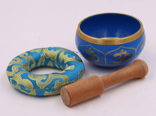 Load image into Gallery viewer, Tibetan OM Singing Bowl Set ~ With Mallet, Brocade Cushion & Carry Bag ~ For Meditation, Chakra Healing, Prayer, Yoga (OM, Turquoise)