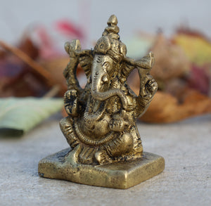 Ganesh Ganesha Statue Hindu Elephant God of Success Solid Brass