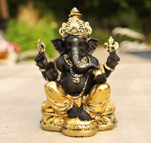 Load image into Gallery viewer, Ganesh Ganesha Statue Hindu Elephant God of Success Cold Cast Resin Gold Finish