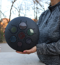Load image into Gallery viewer, Chakra Steel Tongue Drum 10 Inches Tank Drum, Handpan Drum, Percussion with Padded Travel Bag and Mallets