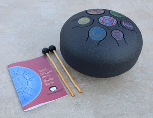 Chakra Steel Tongue Drum 10 Inches Tank Drum, Handpan Drum, Percussion with Padded Travel Bag and Mallets