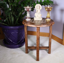 Load image into Gallery viewer, Hand Carved Wooden Round Meditation Table. Altar Table. Prayer Table. Puja. Shrine Table . Side or End Table 19 Inches High