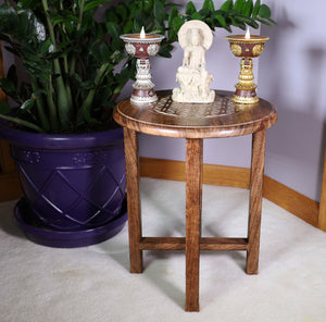 Hand Carved Wooden Round Meditation Table. Altar Table. Prayer Table. Puja. Shrine Table . Side or End Table 19 Inches High