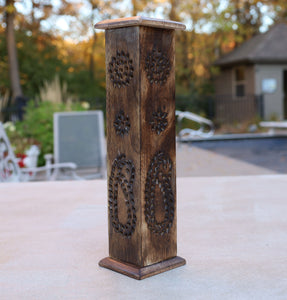 Hand Carved Wooden Tower Incense Stick Burner Stand Holder Ash Catcher Paisley Design 12 Inches Tall