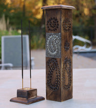 Load image into Gallery viewer, Hand Carved Wooden Tower Incense Stick Burner Stand Holder Ash Catcher Paisley Design 12 Inches Tall