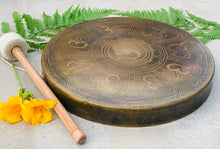 Load image into Gallery viewer, Tibetan Om Gong Diameter Handmade, Temple Gong Healing, Mindfulness Meditation