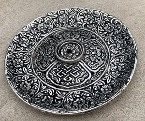 Premium Tibetan Plate Incense Burner Holder Made from Recycled Aluminum 3 in 1.