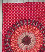 "Load image into Gallery viewer, Lotus Mandala Tapestry Wall Decor Hanging  80""X50"" Red"