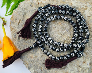 Om Tibetan 108 Bone Beads Mala With Counters and Free Pouch