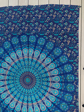 "Load image into Gallery viewer, Lotus Mandala Tapestry Wall Hanging Decor 80""X50"" Turquoise"