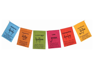 Handmade Tibetan Affirmation Prayer Flags - Peace, Happiness, Courage, Love, Tranquility, Wisdom