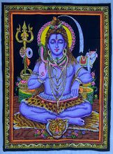 "Load image into Gallery viewer, Meditating Shiva Yoga Fabric Tapestry Wall Hanging Decor 43"" X 30"""