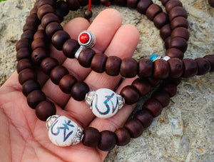 Tibetan Buddhist Old Bodhi Seed Mala / Silver Spacers / Old Conch Shell Accent / 2 Silver Markers