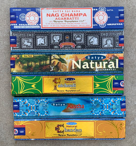 Satya Natural - Set of 6 - Nag Champa , Natural, Astha, Chandan, Super hit and Patchouli 15 Grams