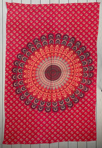 "Lotus Mandala Tapestry Wall Decor Hanging  80""X50"" Red"