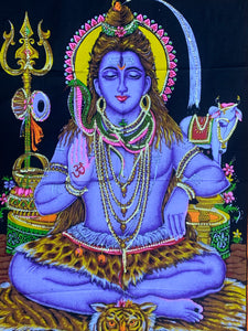 "Meditating Shiva Yoga Fabric Tapestry Wall Hanging Decor 43"" X 30"""