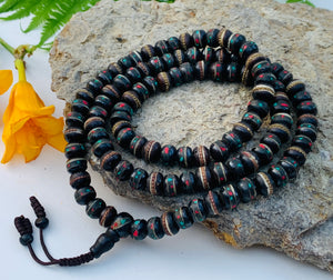 Tibetan Meditation And Yoga 108 Beads Mala Prayer Beads Yak Bone Inlay Turquoise and Coral