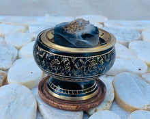 "Load image into Gallery viewer, Decorated Brass Charcoal Screen Incense Burner with Wooden Coaster 3 Pcs Set 2"" Tall"