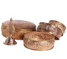 "Load image into Gallery viewer, Tibetan Copper Offering Mandala Set 5.5"" Diameter"