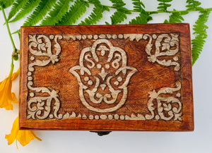 Fatima Hand Carved Jewelry Trinket Keepsake Wooden Storage Box
