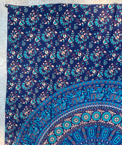 "Elephants Mandala Tapestry Wall Decor Hanging 80""X50"" Blue"