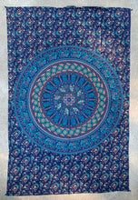 "Load image into Gallery viewer, Elephants Mandala Tapestry Wall Decor Hanging 80""X50"" Blue"