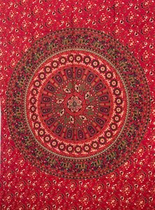 "Elephants Mandala Tapestry Wall Decor Hanging 80""X50"" Red"