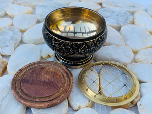 "Decorated Brass Charcoal Screen Incense Burner with Wooden Coaster 3 Pcs Set 2"" Tall"