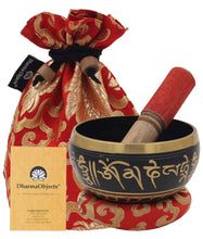 Load image into Gallery viewer, Tibetan OM MANI Singing Bowl Set ~ With Mallet, Brocade Cushion & Carry Bag