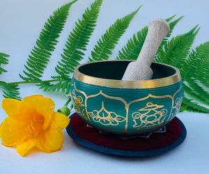 Tibetan 8 Lucky Symbols Singing Bowl Complete Set ~ With Mallet, Mat Cushion & Gift Box ~ For Meditation, Chakra Healing, Prayer, Yoga