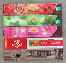 Load image into Gallery viewer, Gift Set of 5 Patchouli, Rose , Love, Zen Meditation and Om Champa Incense Kit (incense Holder Included)