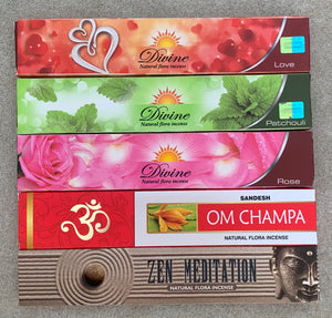 Gift Set of 5 Patchouli, Rose , Love, Zen Meditation and Om Champa Incense Kit (incense Holder Included)