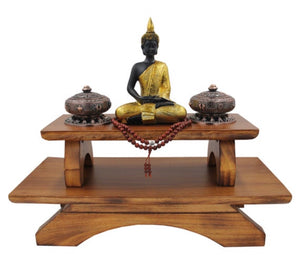 Premium Solid Wood Hand Carved Personal Shrine Altar Meditation Table